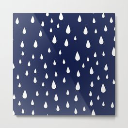 White Raindrops pattern on Navy Blue background Metal Print