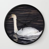 black swan Wall Clocks featuring Swan by WonderfulDreamPicture