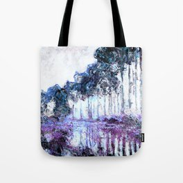 Monet : Poplars Lavender Periwinkle Deep Blue Tote Bag