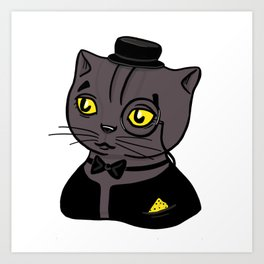 Fancy Chubby Black - Gray Cat, wearing a bow, a monocle and tuxedo Art Print