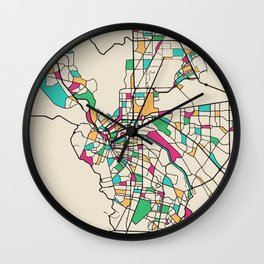 Colorful City Maps: El Paso, Texas Wall Clock