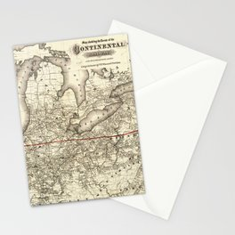Map of the Continental Railroad Route (1873) Stationery Cards