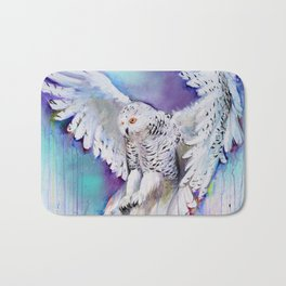 Flying White Owl Modern Watercolor Bath Mat