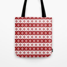 Red Fair Isle Christmas Sweater Snowflakes Pattern Tote Bag