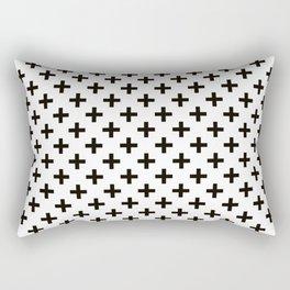 Criss Cross | Plus Sign | Black and White Rectangular Pillow