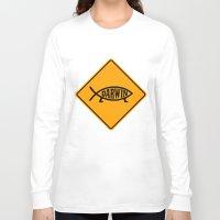 darwin Long Sleeve T-shirts featuring Darwin Fish Road Sign by Max Headroom