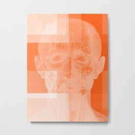 Untitled Abstract No. 23 | Orange Human Anatomy Metal Print