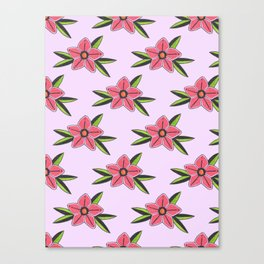 Old school tattoo flower pattern in lilac Canvas Print