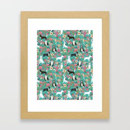 Bull Terrier dog breed pattern florals dog lover gifts pet friendly designs Framed Art Print