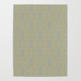 Simply Mid-Century Mod Yellow on Retro Gray Poster