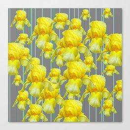 OODLES OF YELLOW IRIS GREY GARDEN ART Canvas Print