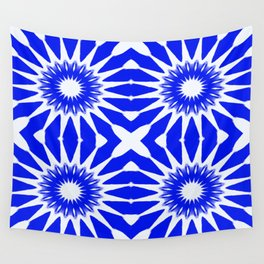 Royal Blue & White Pinwheel Flowers Wall Tapestry
