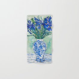 Iris Bouquet in Chinoiserie Vase on Blue and White Striped Tablecloth on Painterly Mint Green Hand & Bath Towel