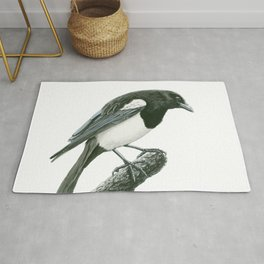 Magpie ink painting Rug