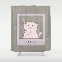 Instant photo cat in space Shower Curtain