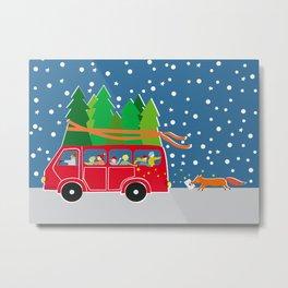 Christmas Bus Metal Print