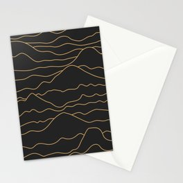 Mountains Lines Black Stationery Cards
