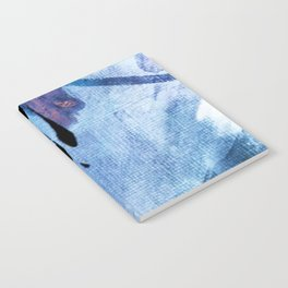 Pull: an abstract mixed media piece in blues, purple, black, and white Notebook