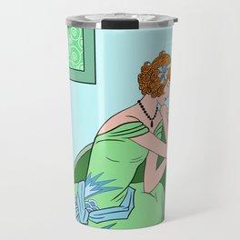 CLARICE: Art Deco Lady - Girly Greens Travel Mug