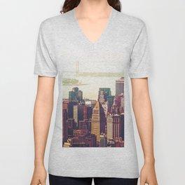 New York City Skyline Colors Unisex V-Neck