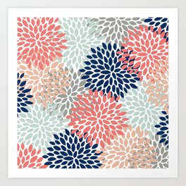 Floral Bloom Print, Living Coral, Pale Aqua Blue, Gray, Navy Art Print