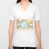 maps V-neck T-shirts featuring Off The Maps by Grace M