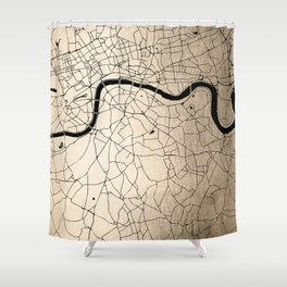 London Gold on Black Street Map II Shower Curtain