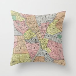 Vintage Map of Rochester NY (1901) Throw Pillow