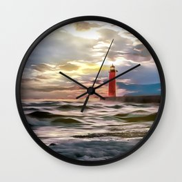 Lighthouse (Painting) Wall Clock
