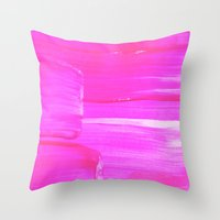 hot pink Throw Pillows featuring Hot PINK by HollyJonesEcu