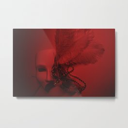 Cinematography Art Masks in a Red Background  Metal Print