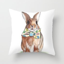 Easter Bunny wearing Bow Tie Throw Pillow