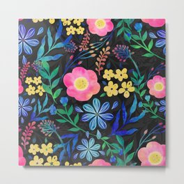 Pretty Girly Pink Blue Floral Gray design Metal Print