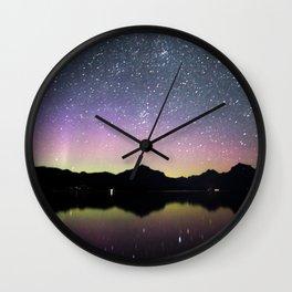 northern lights over lake mcdonald Wall Clock
