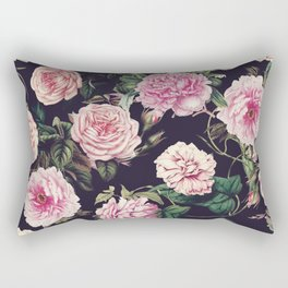 Dark Floral Pattern Rectangular Pillow