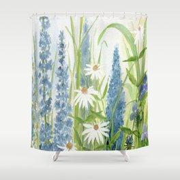 Watercolor Botanical Garden Flower Wildflower Blue Flower Garden Shower Curtain