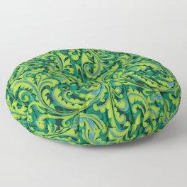 Verdant Victorian Vegetation Floor Pillow