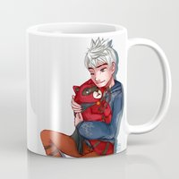 jack frost Mugs featuring Jack Frost Weasel  by Kiome-Yasha