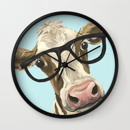 Cute Glasses Cow Up Close Cow With Glasses Wall Clock