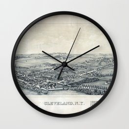 Aerial View of Cleveland, New York (1890) Wall Clock