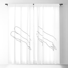 Minimal line drawing of woman's folded arms - Amy Blackout Curtain