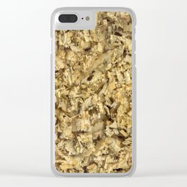 Texture and background from coniferous wood shavings Clear iPhone Case