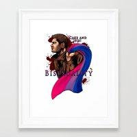 fandom Framed Art Prints featuring Fandom Pride : Bisexuality ( Dean Winchester) by Seraph Limonade