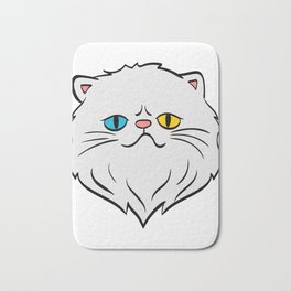 Whity Perfect Gift for Cat Lovers A Persian Cat Tee T-shirt Design Kitten Meow Paws Animals Fur  Bath Mat