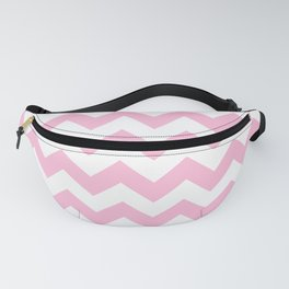 White and Cotton Candy Pink Horizontal Zigzags Fanny Pack
