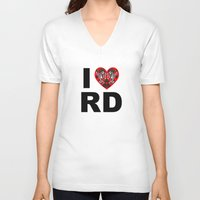 roller derby V-neck T-shirts featuring I heart roller derby by Andrew Mark Hunter