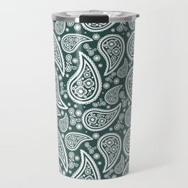 Paisley (White & Dark Green Pattern) Travel Mug