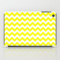 chevron iPad Cases featuring Chevron (Yellow/White) by 10813 Apparel