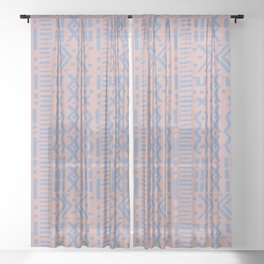 Mudcloth No. 1 in Blush + Dusty Blue Sheer Curtain