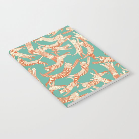cat party jade orange Notebook